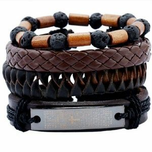 Other - 4PCS LEATHER AND WOOD BRACELETS